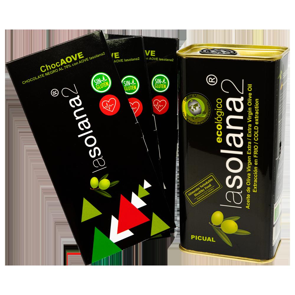 aceite de oliva virgen extra lasolana2 pack de inicio con chocolate con aceite de oliva